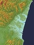Miyazaki Plain Relief Map, SRTM-1.jpg