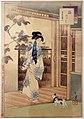 Mizuno toshikata, dopo il bagno, donna dell'era kensei, 1894 gatto.jpg