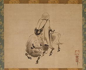 Monk Riding Backward on an Ox