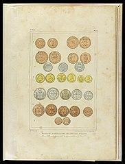Monnaies bresiliennes de diverses époques : 1 Cuivre, 2 Cuivre, 3 Argent, 4 Or, 5 Argent, 6 Cuivre, 7 Cuivre