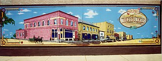 Montgomery, Minnesota - Mural depicting downtown Montgomery in the late 1800s, painted by Victor Garcia