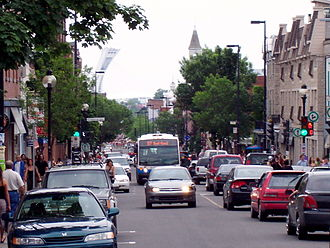Mount Royal Avenue - Looking east, towards Olympic Stadium, June 2007.