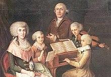 Mozart (am Klavier) musiziert mit dem gleichaltrigen Thomas Linley junior (Violine). Florenz 1770 (Quelle: Wikimedia)