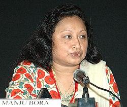 Ms Manju Bora, Director joymoti (Assamese) addressing a press conference at Black Box, Kala Academy during the 37th International Film Festival (IFFI-2006) in Panaji, Goa on November 25, 2006.jpg