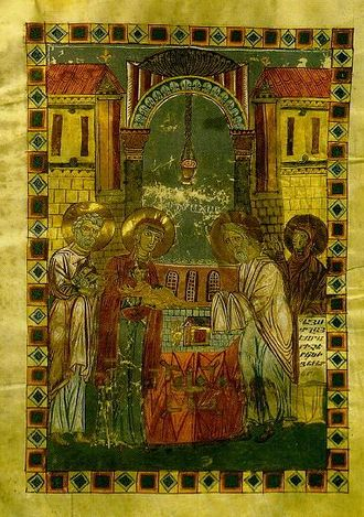 Presentation of Jesus at the Temple - An Armenian miniature illustrating the subject (Mugni Gospels, ca. 1060).