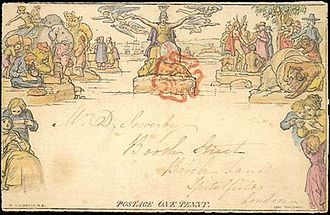 Mulready stationery - The one penny Mulready stationery issued in 1840, hand coloured