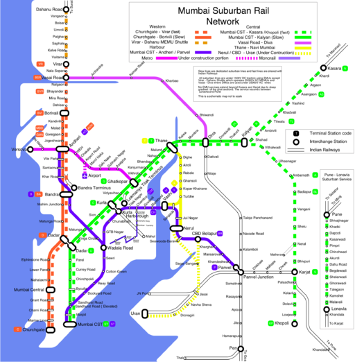Mumbai suburban rail map