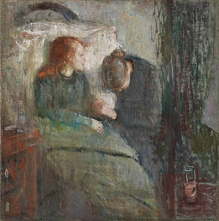 Painting The Sick Child by Edvard Munch, 1885-86, depicts the illness of his sister Sophie, who died of tuberculosis when Edvard was 14; his mother too died of the disease. Munch Det Syke Barn 1885-86.jpg