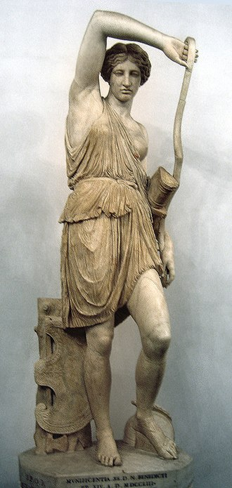 """Calafia - """"Wounded Amazon"""", a copy of a Greek sculpture by Phidias, depicting a woman archer"""