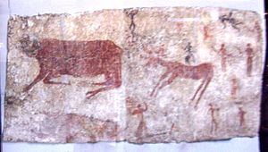 History of Anatolia - Wall painting of a bull, deer and man from Çatalhöyük; 6th millennium BC; reconstruction in their original positions of the bull's heads and the human relief-figure; Museum of Anatolian Civilizations, Ankara.