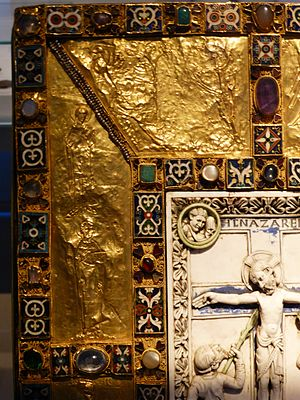 Egbert (archbishop of Trier) - Detail of the Trier enamels and gold reliefs on the treasure binding for the Codex Aureus of Echternach. The origin of the ivory panel is less certain.
