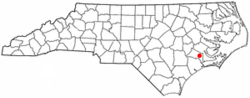 Location of Pollocksville, North Carolina