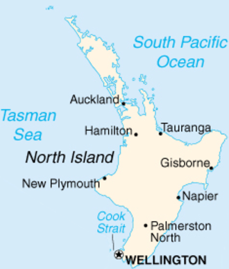 North Island - Map of the North Island showing some of its cities
