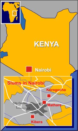 Major slums of Nairobi
