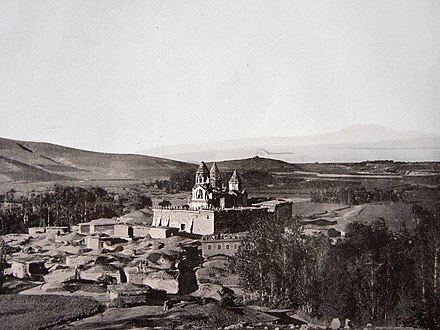Grigor Narekatsi was based throughout his life at the monastery of Narek (Narekavank), seen here circa 1900. His chapel-mausoleum was located inside the monastery walls before it was destroyed in the mid-20th century. Narekavank.jpg