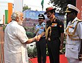 Narendra Modi being received by the Chief of Army Staff, General Dalbir Singh and the Chief of the Air Staff, Air Chief Marshal Arup Raha, on his arrival, at 'Shauryanjali'.jpg