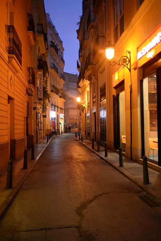 File:Narrow streets of the old city center, late evening ...