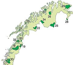 Die Nationalparks in Nord-Norwegen (Der Øvre-Pasvik hat Nummer 28)