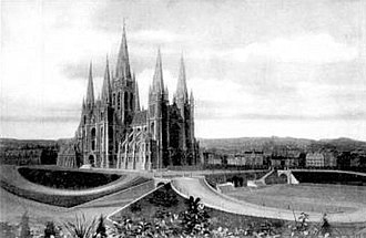 Basilica of the Sacred Heart, Brussels - Neo-gothic project of the Basilica by Pierre Langerock (1905)