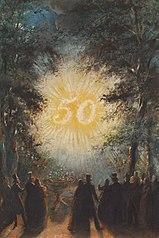 1843, illuminatie ter gelegenheid van de gouden bruiloft van echtpaar Wurfbain-Hurrelbrinck op het buiten Zorg Vrij nabij Haarlem