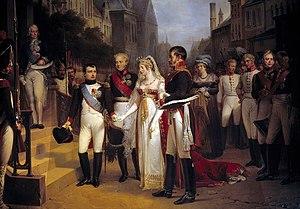 Nicolas Gosse - Image: Nicolas Gosse Napoleon receives the Queen of Prussia at Tilsit, July 6, 1807