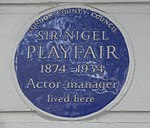 Nigel Playfair blue plaque, Pelham Crescent.jpg