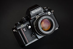 Nikon F3 135 film SLR camera with Nikkor 50mm F1.4 lens and HP prism.jpg