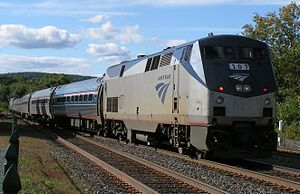 Vermonter (train) - A Vermonter backing up at Palmer in 2007. Visible are two GE P42DCs and six Amfleet cars.