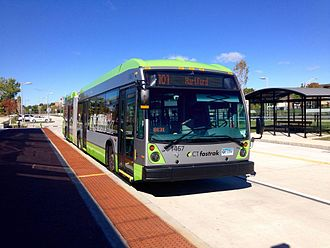 CTfastrak - A 62-foot CTfastrak bus at Downtown New Britain station in November 2015