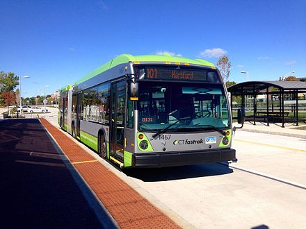 CTfastrak was built to connect the suburbs to Hartford. NovaBUS LFX.jpg