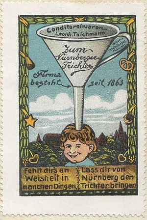 """Nuremberg Funnel - 1910 Nuremberg poster stamp depicting the Nuremberg funnel (""""If you miss wisdom in some fields, let you bring the Funnel from Nuremberg"""")"""