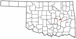Location of Weleetka, Oklahoma