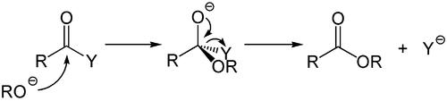 Mechanismus des basenkatalysierten Additions-Eliminierungsmechanismus.