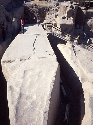 Unfinished obelisk - The unfinished obelisk in its quarry at Aswan, 1990