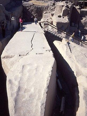 Unfinished obelisk - The unfinished obelisk in its quarry at Aswan, 1990