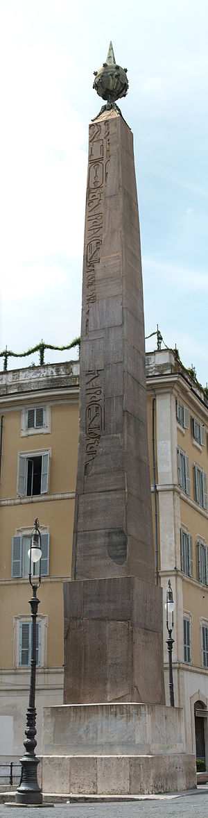 Solarium Augusti - The Obelisk of Montecitorio gnomon, in present Piazza di Montecitorio location.