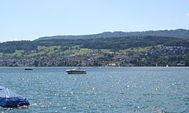 Oberrieden from across Lake Zurich