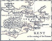 Map of late Roman Kent, in the early 5th century, showing how Reculver was then at the north-eastern corner of mainland Kent, with the Wantsum Channel between it and the Isle of Thanet