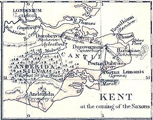 "Reculver - Map of Kent early in the 5th century, showing how Reculver (marked here as ""Reculbium"") was then at the north-eastern corner of mainland Kent, with the Wantsum Channel between it and the Isle of Thanet: Gardiner, S.R., A School Atlas Of English History, 1892"