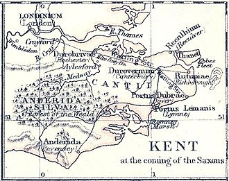 """Reculver - Map of Kent early in the 5th century, showing how Reculver (marked here as """"Reculbium"""") was then at the north-eastern corner of mainland Kent, with the Wantsum Channel between it and the Isle of Thanet: Gardiner, S.R., A School Atlas Of English History, 1892"""