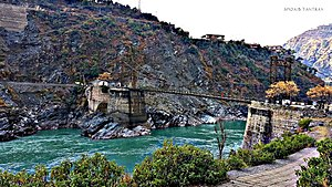 Chenab River - Old bridge over Chenab river at Ramban, Jammu and Kashmir, India.