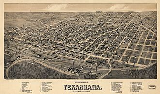 Texarkana metropolitan area - Map of the city in 1888