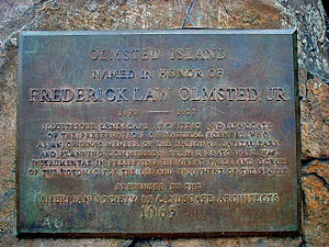 Olmsted Island - Image 2: Close up of the plaque in Image 1