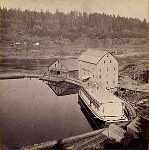 Canemah, Oregon - Boat basin above Willamette Falls, 1867, with sternwheeler under construction