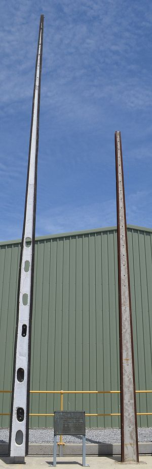 Stobie pole - Original 1924 Stobie Pole (right) next to a modern Stobie Pole (left) at the Angle Park Manufacturing Plant