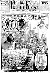 A cartoon drawing of Wilde in a crowded courtroom