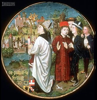 Otto of Freising - Painting of Otto of Freising by Hans Part in the Babenberger Stammbaum, ca. 1490, Stift Klosterneuburg. The Bishop is looking at the cathedral and city of Freising from the east bank of the Isar river.