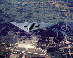 A B-2A Spirit from the 509th Bomb Wing flying over Whiteman AFB.