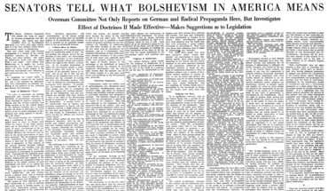 """Senators Tell What Bolshevism in America Means."