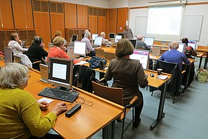 Overview of class of Senior Citizens write Wikipedia in Municipal Library of Prague at 2014-11-04 in Prague-Nové Město, Prague.jpg